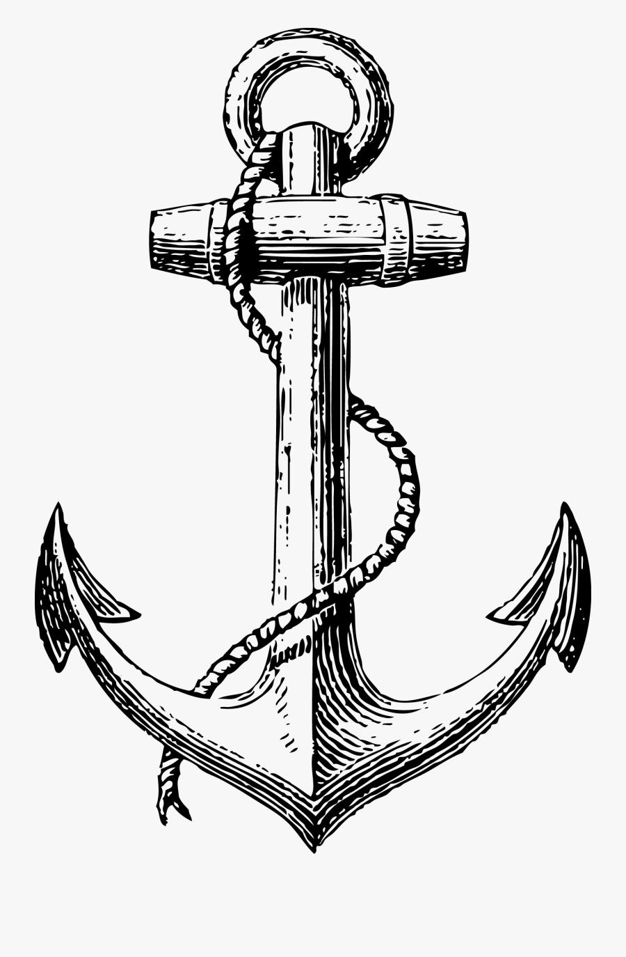 Anchor Drawing Clip Art - Sailor Anchor Tattoo, Transparent Clipart