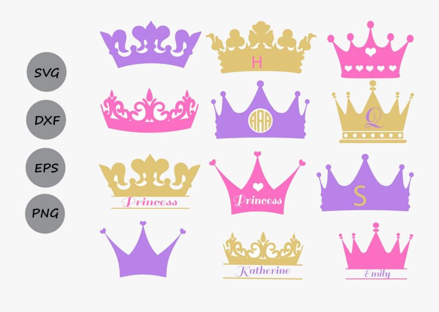 Crown Monogram Princess Crowns Clipart Transparent - Princess Crown Svg, Transparent Clipart