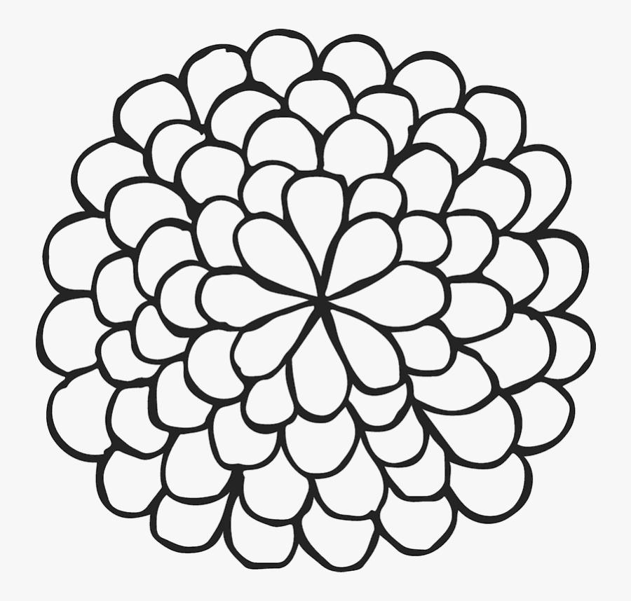 Clip Art Dahlia Flower Outline - Simple Flower Outline Png, Transparent Clipart
