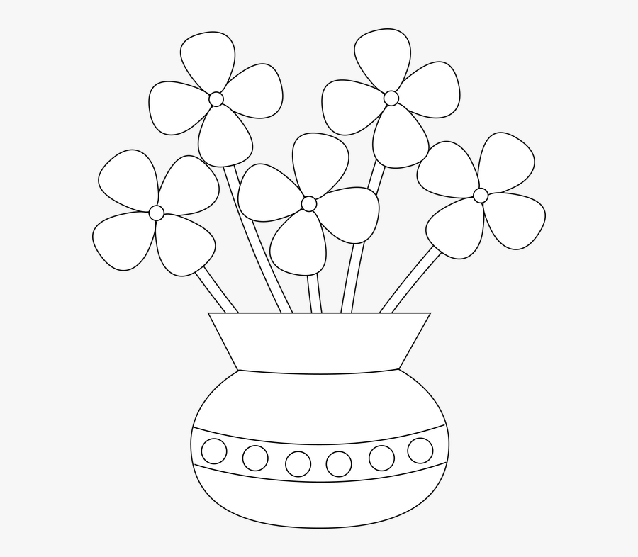 Collection Of Flower - Easy Flower Pot Drawing, Transparent Clipart