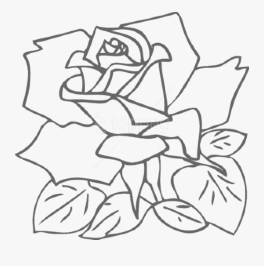 Rose Clipart Outline - Butterfly And Flower Pictures Coloring, Transparent Clipart