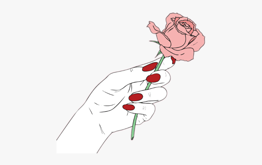 Clip Art Flower Outline Tumblr Hand Holding Rose Drawing Free Transparent Clipart Clipartkey