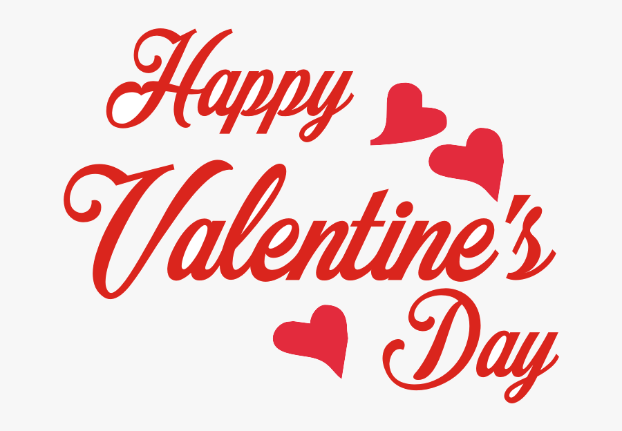 Happy Valentines Day Decorative Texts Clipart Transparent - Valentines Day Text Png, Transparent Clipart
