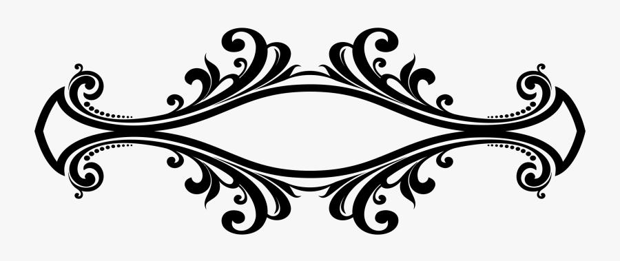 Flourish Clipart Decorative - Border Design Black And White, Transparent Clipart
