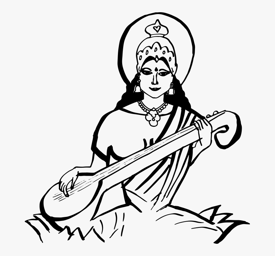 Saraswati Hd Png - God Sarswati Black & White, Transparent Clipart