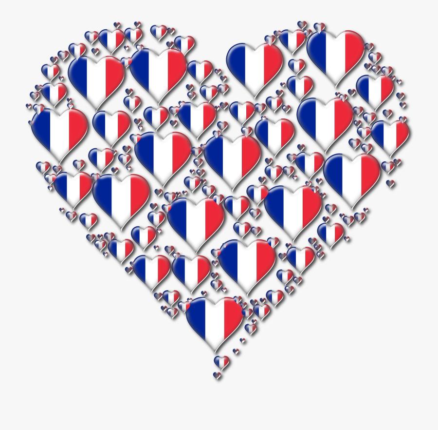Heart Fractal Enhanced Big - Flag Of France, Transparent Clipart