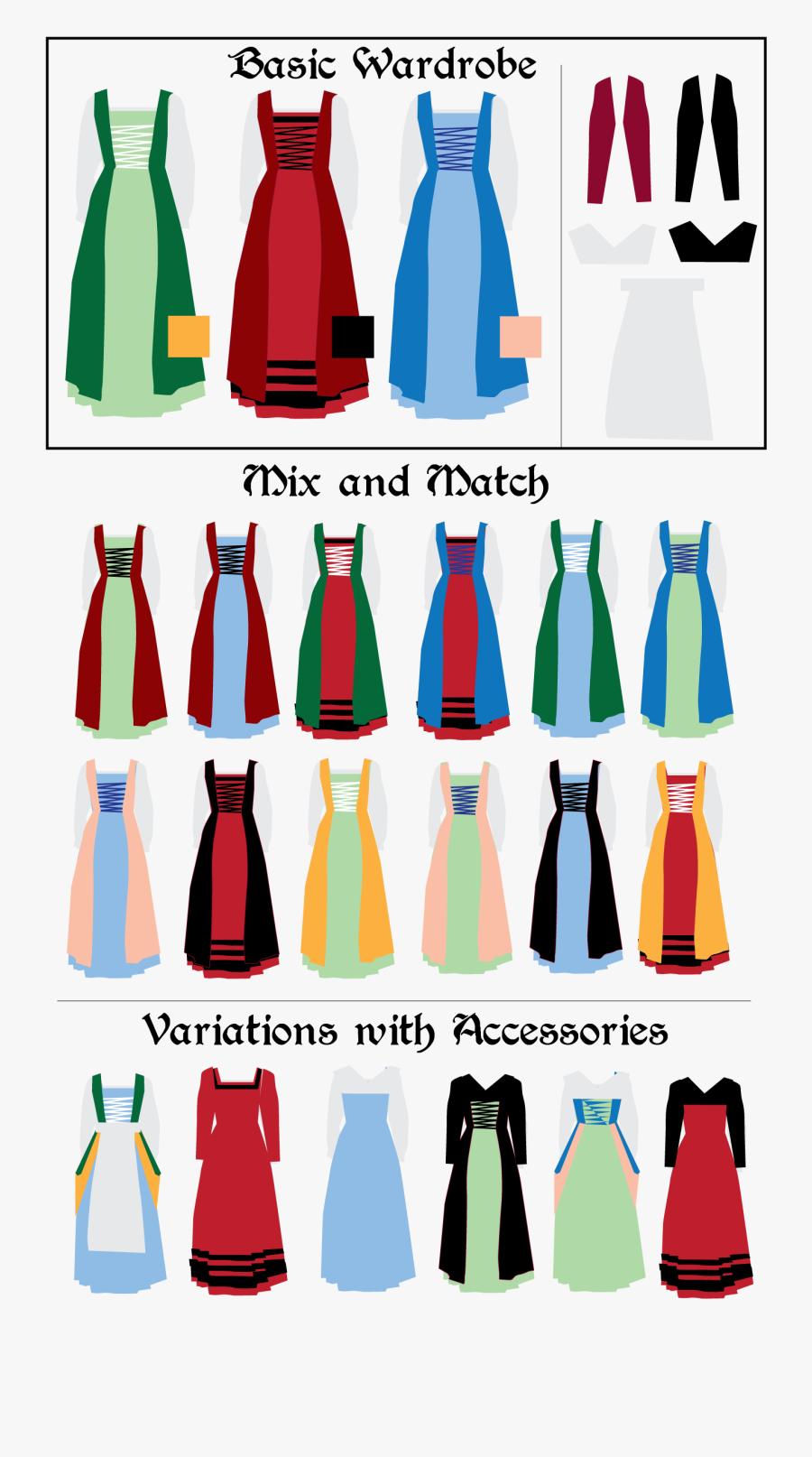 Clipart Clothes Clothing Accessory - Renaissance Clothing Colors, Transparent Clipart