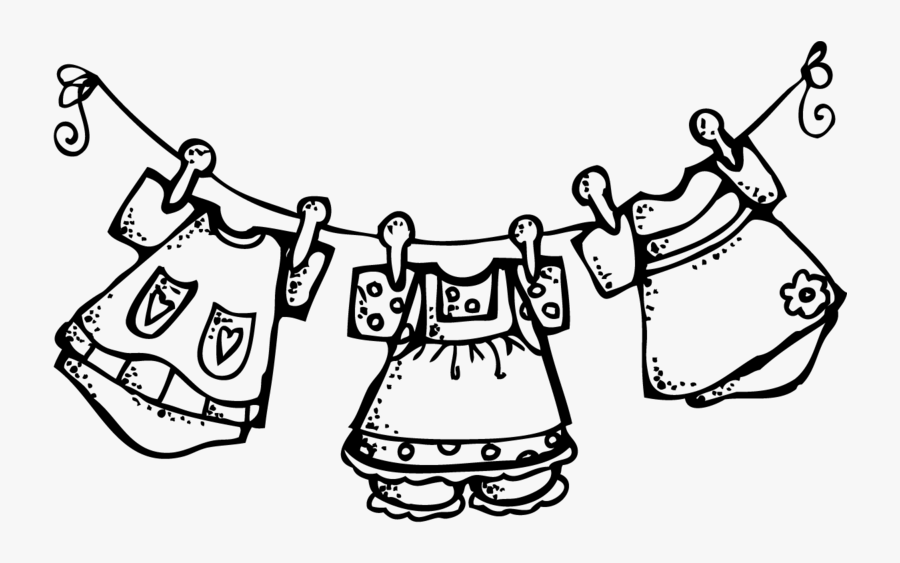 Clipart Clothes On A Clothesline - Clip Art Black And White Clothes, Transparent Clipart