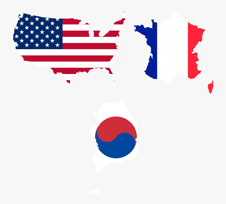 United States Of America , France, And South Korea - Usa Flag, Transparent Clipart