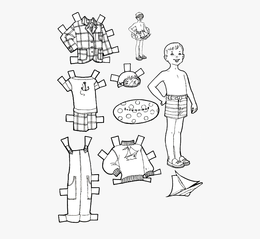 Clip Art Kids Fun Vacation Dolls - Boy Paper Doll Coloring ...