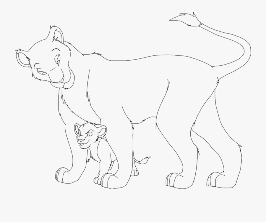 Lion And Lioness Drawing At Getdrawings - Lion King Drawing Base, Transparent Clipart