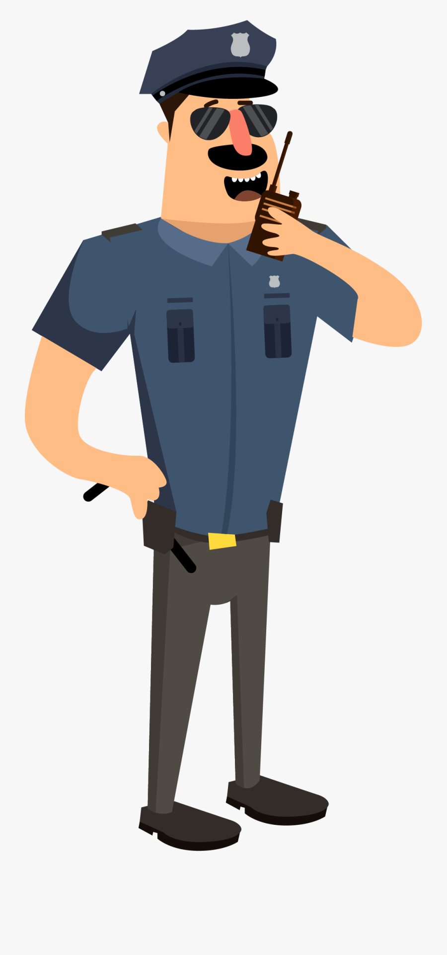Vector Free Download Cartoon Police Illustration Walkie - Cartoon Cop Png, Transparent Clipart