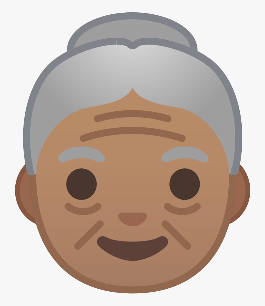 Medium Skin Tone Icon - Whatsapp Old Woman Emoji, Transparent Clipart