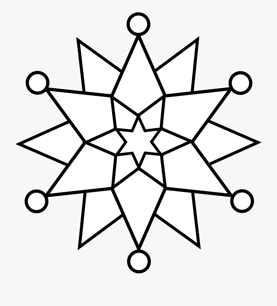 Black - Snowflake - Clipart - Easy Snowflake Coloring Pages , Free