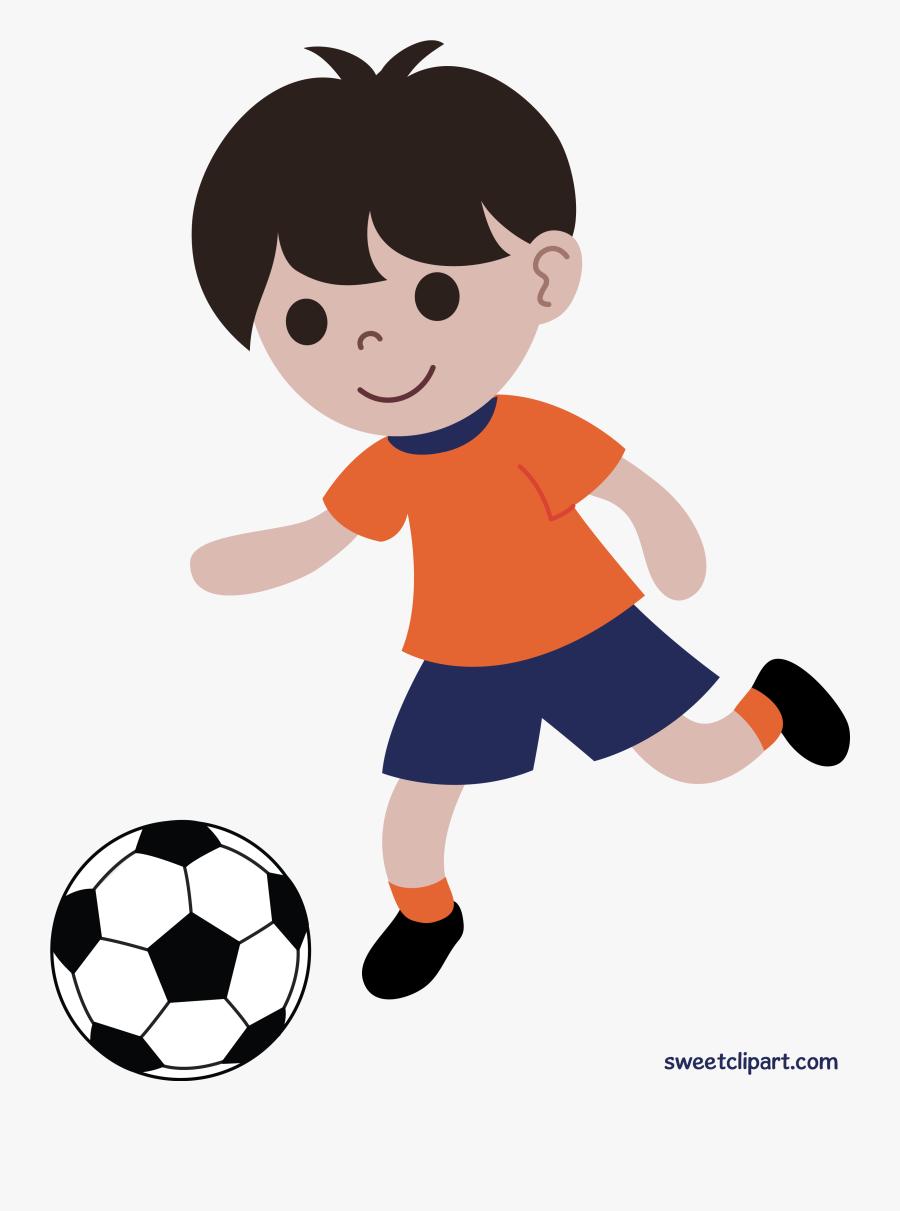 Boy Playing Soccer Or Football Clip Art - Boy Playing Soccer Clipart, Transparent Clipart
