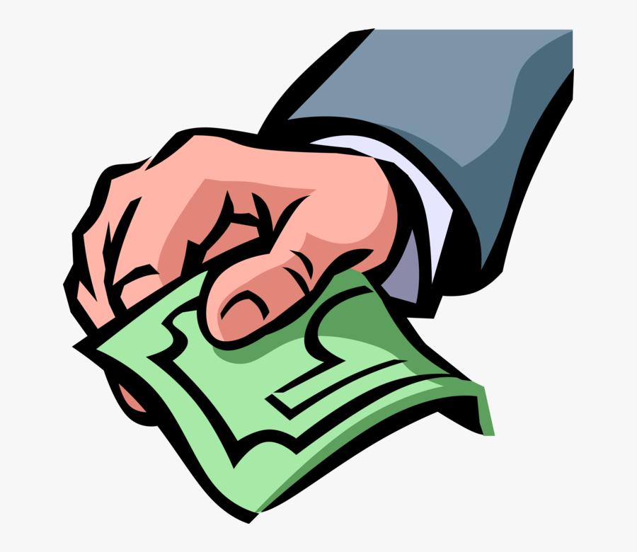 Vector Illustration Of Hand Offers Payment Cash Dollar - Bills Payment Vector Transparent, Transparent Clipart