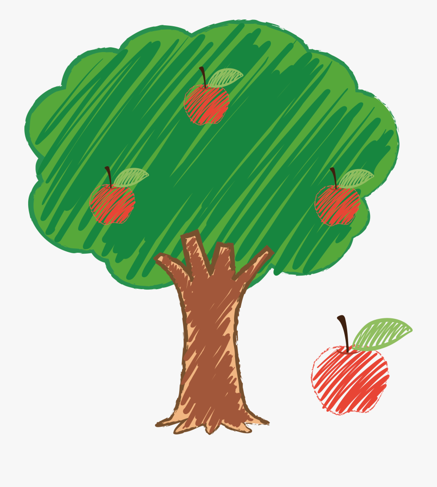 Transparent Apple Tree Clipart Black And White - Apple Tree For Drawing, Transparent Clipart