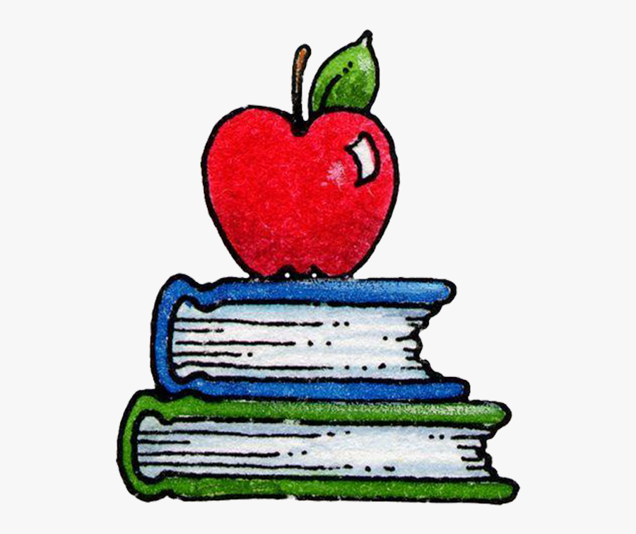 Clip Art Books And Apple Clipart - Book And Apple Drawing , Free  Transparent Clipart - ClipartKey