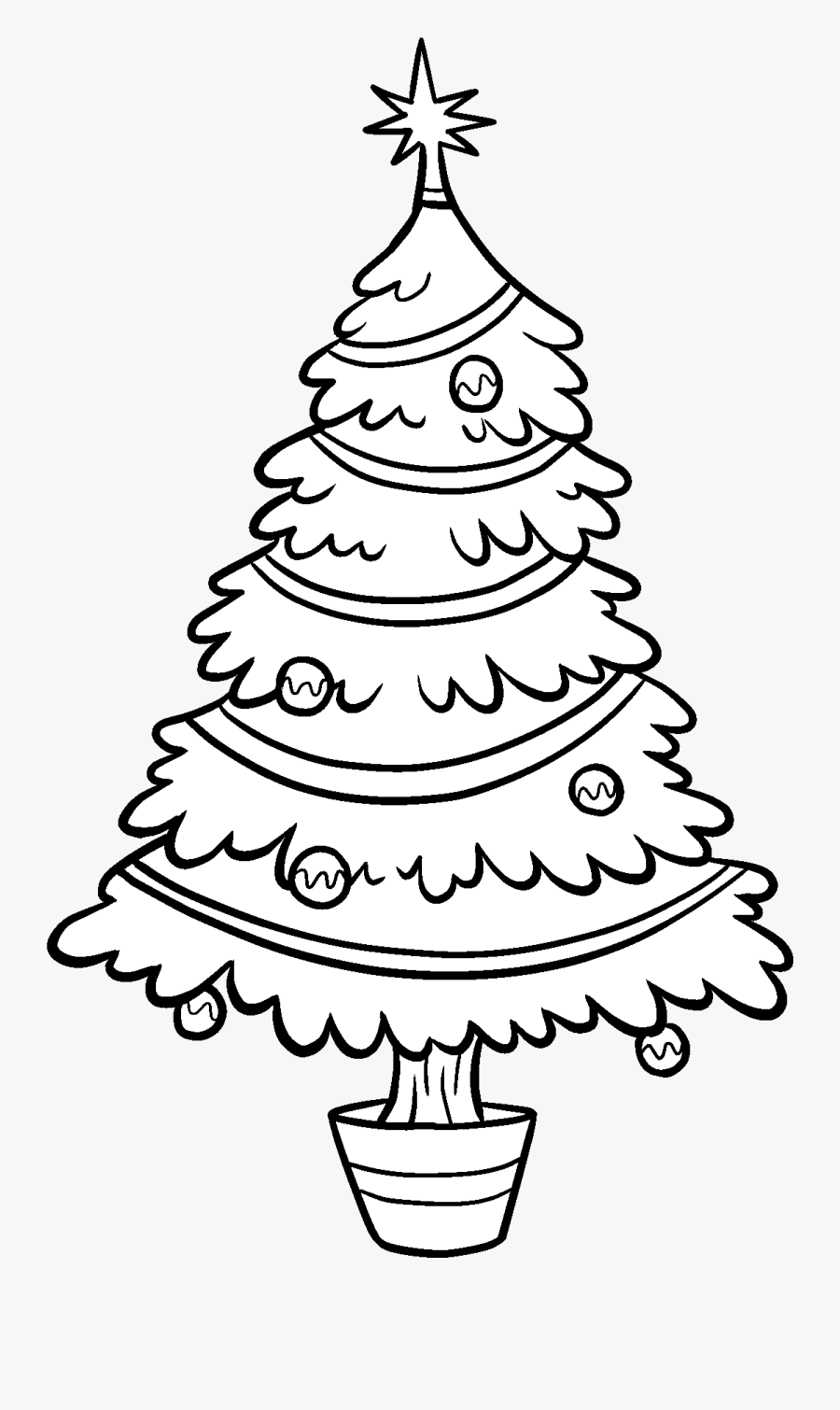 Christmas Tree Clipart Outline - Transparent Christmas Tree Black And White Clipart, Transparent Clipart