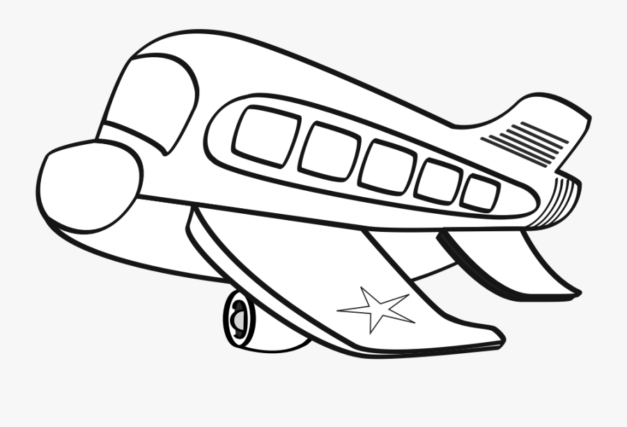 Airplane Clipart Colouring - Clip Art Black And White Airplane, Transparent Clipart