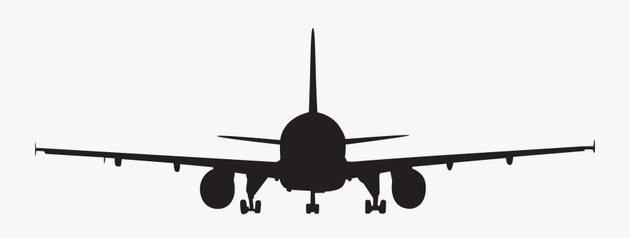 Airplane Silhouette Clip Art - Airplane Clipart Front View, Transparent Clipart