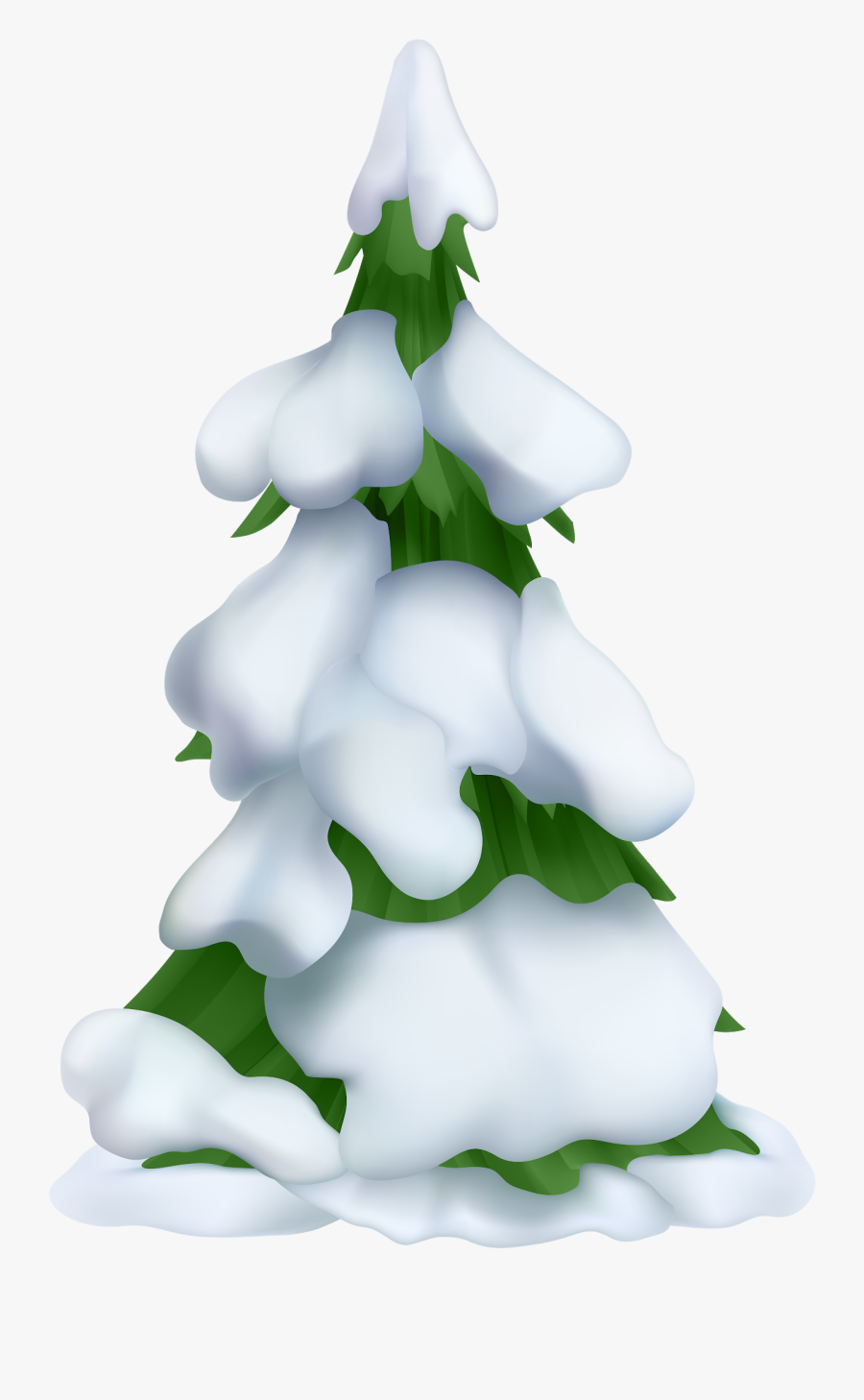 Transparent Tree With Snow Clipart - Snowy Christmas Tree Clipart, Transparent Clipart