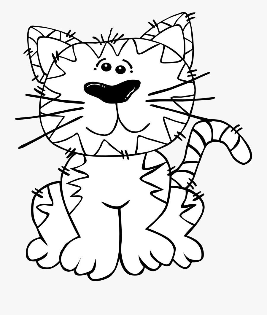 Cartoon Cat Clip Art Black And White, Transparent Clipart