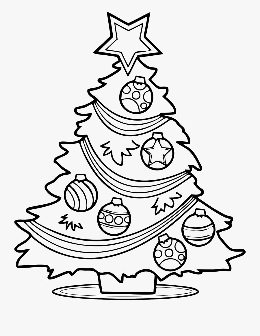 Clipart Black And White Xmas Tree, Transparent Clipart