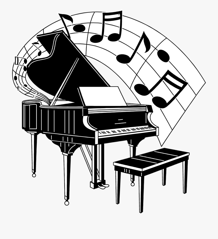Piano With Music Notes, Transparent Clipart