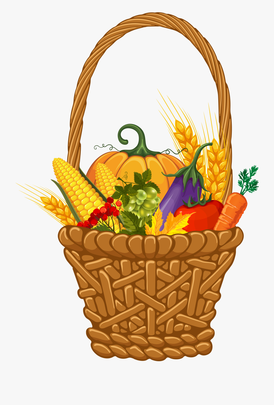 28 Collection Of Thanksgiving Baskets Clipart - Fall Basket Clip Art, Transparent Clipart