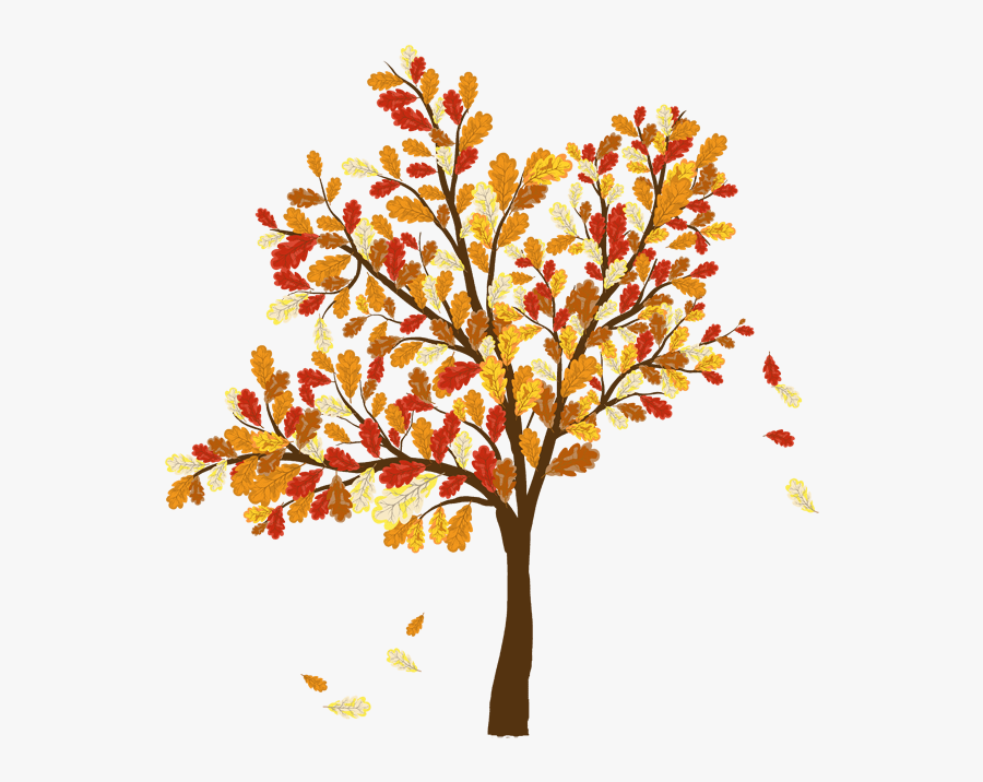 Thumb Image - Tree With Falling Leaves, Transparent Clipart