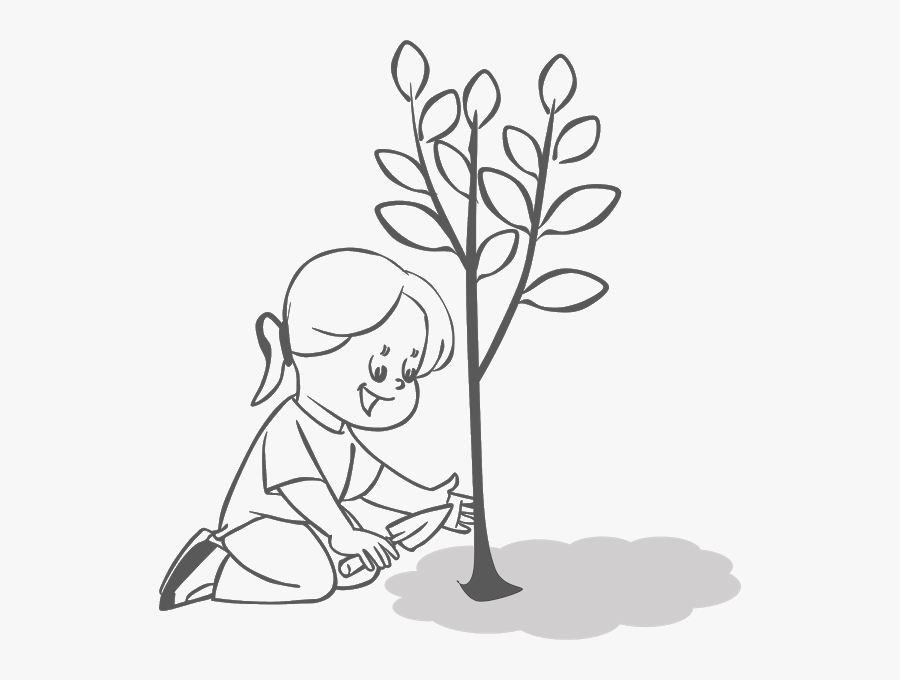 Planting Trees Free Cliparts - Planting Trees Clip Art Black And White, Transparent Clipart