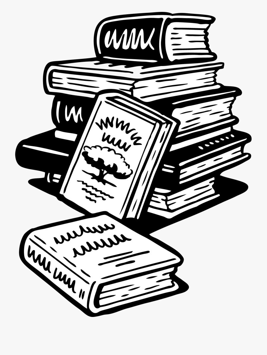 Book Black And White School Books Clipart Clip Art - Book Stack Clipart Black And White, Transparent Clipart