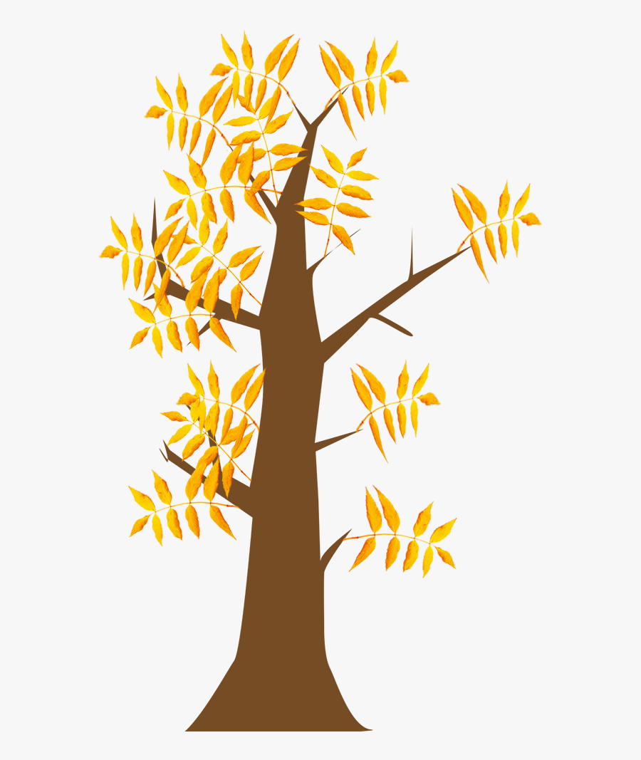 Autumn Clip Art Tree With Leaves - Transparent Background Autumn Trees Clipart, Transparent Clipart
