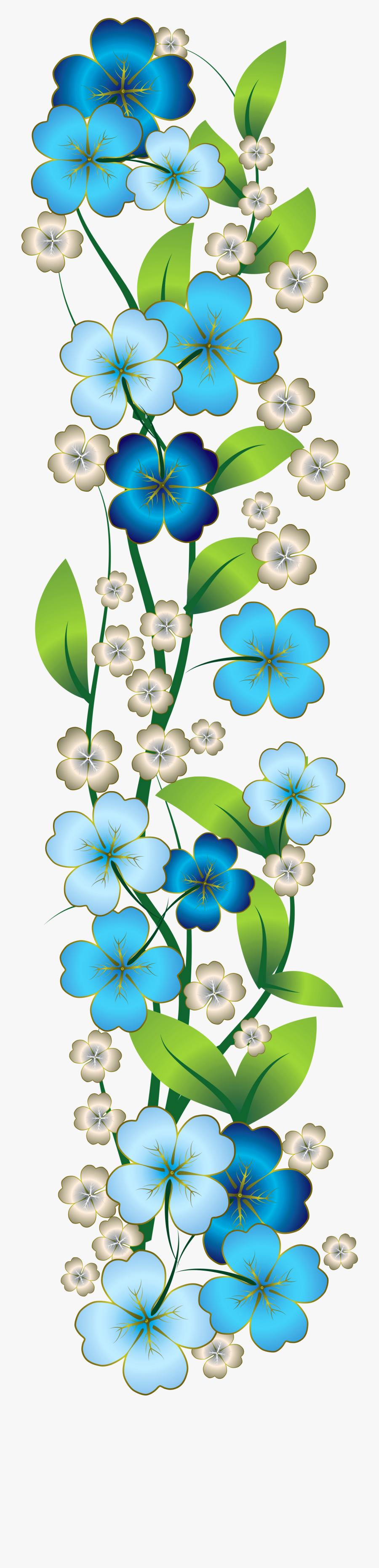 Blue Flower Decor Png Clipart - Blue Flower Border Png, Transparent Clipart