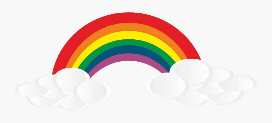 Free Rainbow Clipart - Rainbow And Clouds Transparent, Transparent Clipart