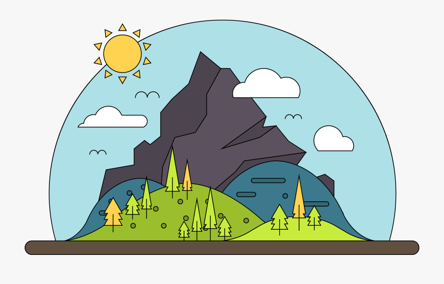 Mountain Vector Cartoon Landscape Free Transparent - Mountain Vector Png, Transparent Clipart