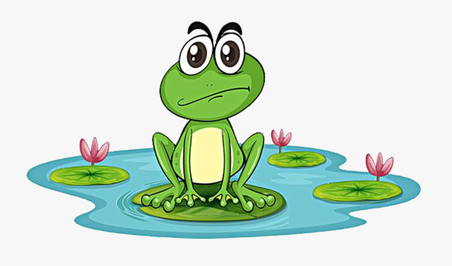 Tree Frogs Clipart - Frog In A Pond Cartoon, Transparent Clipart