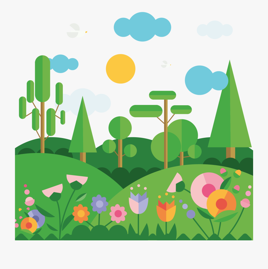 Flat Spring Mountain Landscape Vector Material 2708 - Landscape With Geometric Shapes, Transparent Clipart