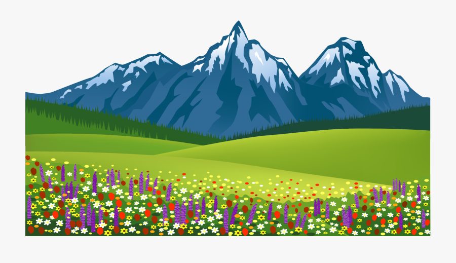 Mountain Clipart Scenery - Mountain And Flower Clipart, Transparent Clipart