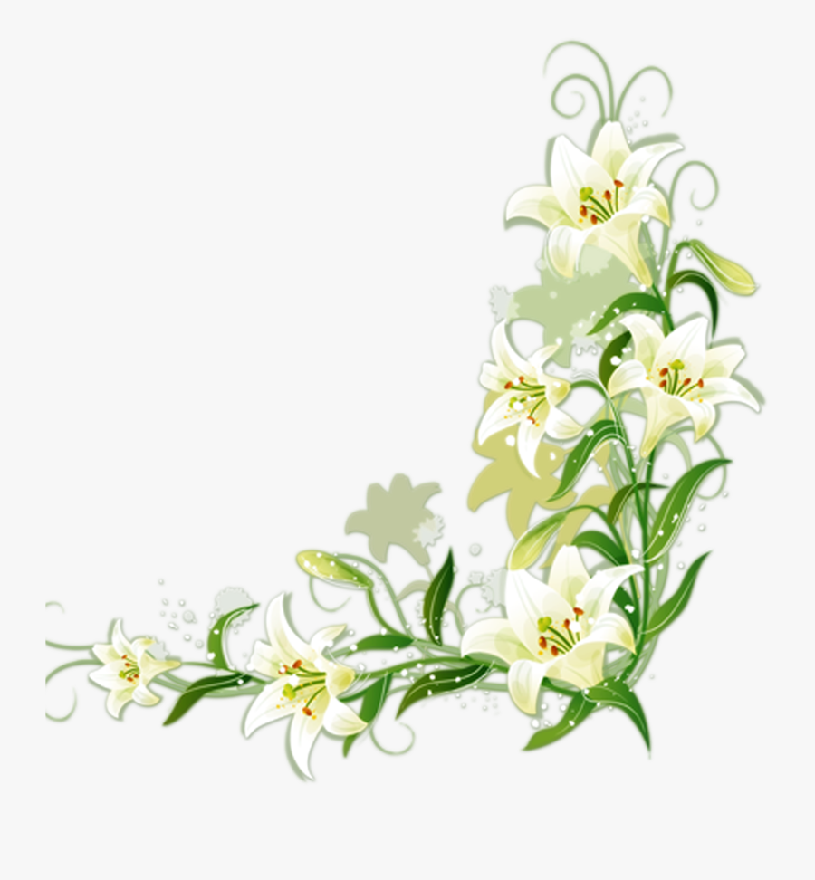 Easter Cross With Flowers Clip Art - Lily Flower Border Design, Transparent Clipart