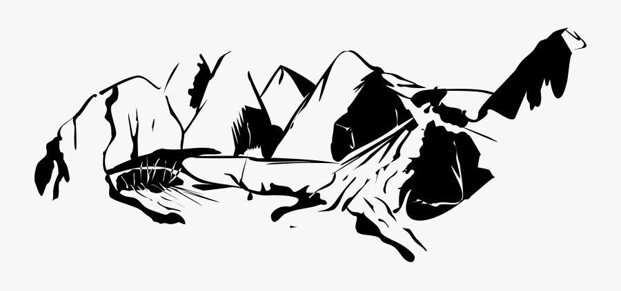 Black And White Mountain Range Download Free Commercial - Black And White Mountain Clip Art, Transparent Clipart