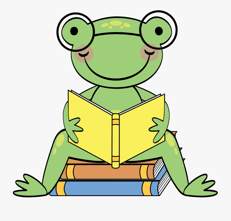 Frog Reading Clipart - Frog Reading Book Clipart, Transparent Clipart