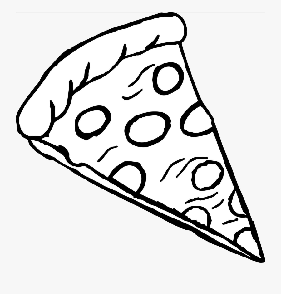 Pizza Slice Of Clipart Black And White Transparent - Pizza ...