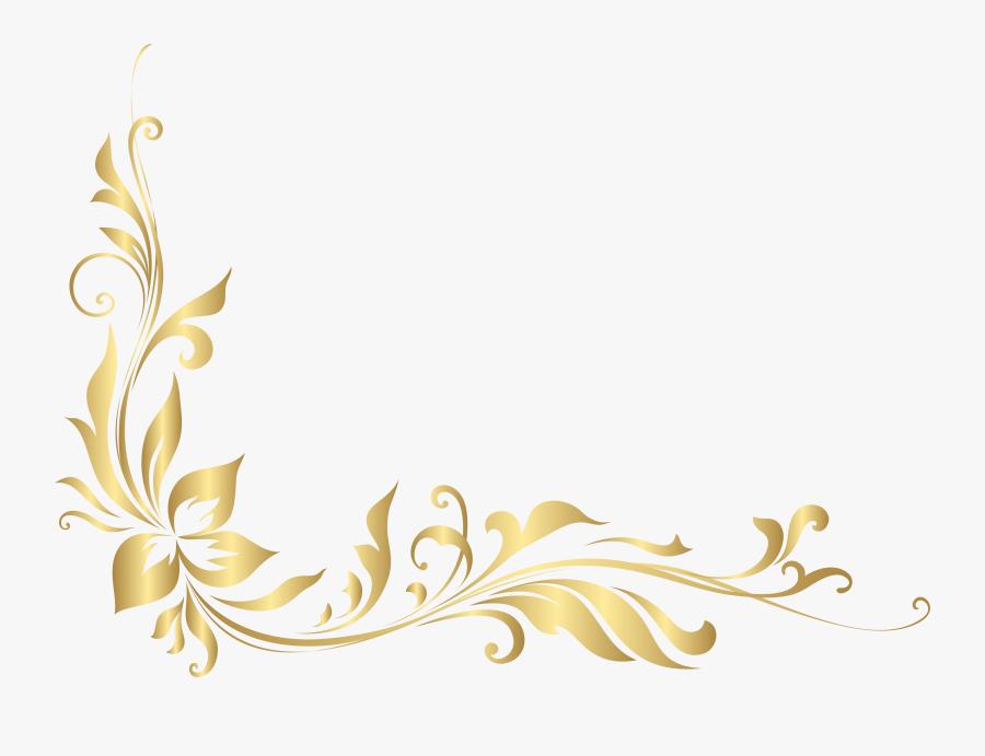 Banner Library Stock Golden Floral Decoration Transparent - Gold Flower Design Png, Transparent Clipart