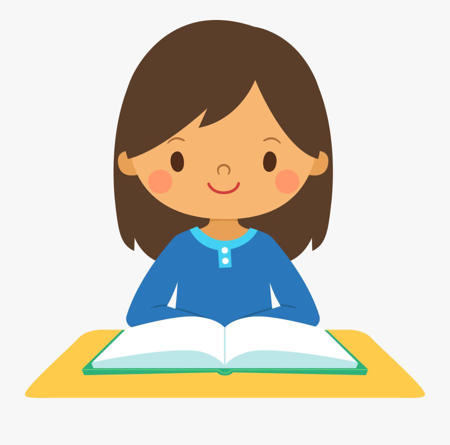 Girl Reading Clip Art - Girl Reading Clipart, Transparent Clipart