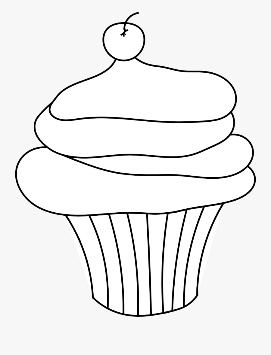 Cupcake Black And White Cupcake Outline Clipart Black - Cupcake Clipart Black And White Transparent, Transparent Clipart