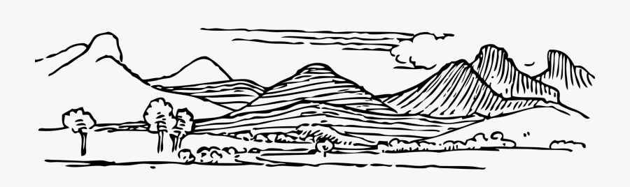Mountain Range Drawing Line Art Valley Free Commercial - Mountain Range Clip Art, Transparent Clipart
