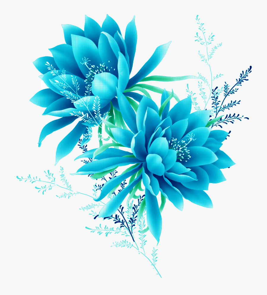 Blue Flower Effect Element Flowers Pixel Clipart - Blue Flower Png, Transparent Clipart