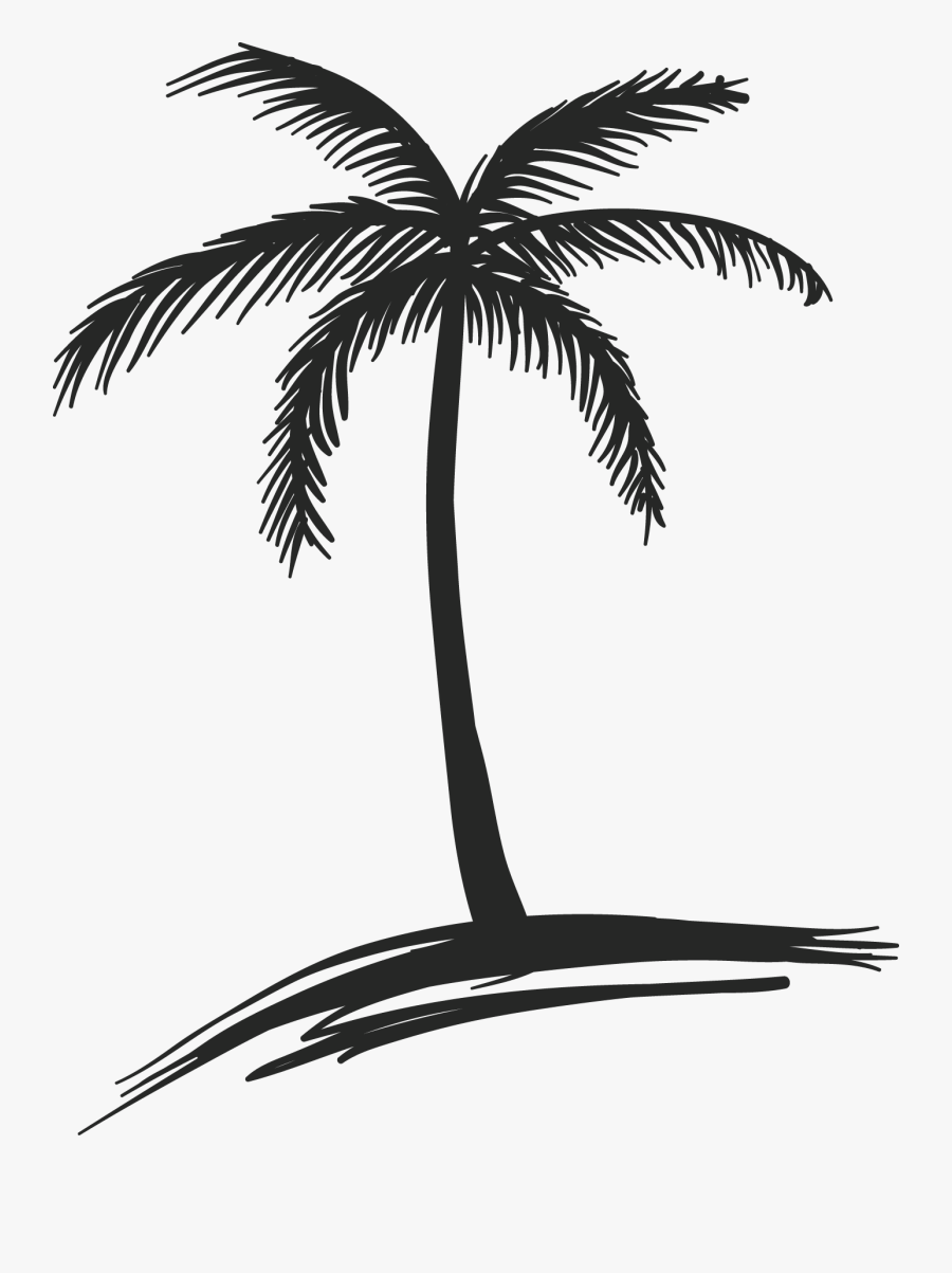 Clip Art Clipart Free Library And - Coconut Tree Beach Drawing, Transparent Clipart